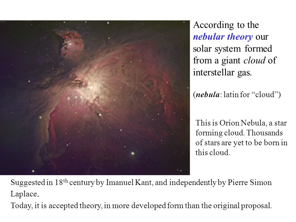 According to the nebular theory our solar system formed from a giant cloud of interstellar gas.