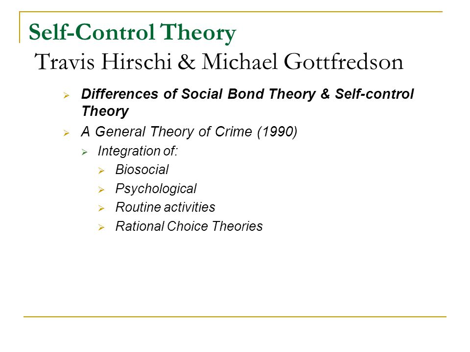 Social Control Theory vs. Self-Control Theory