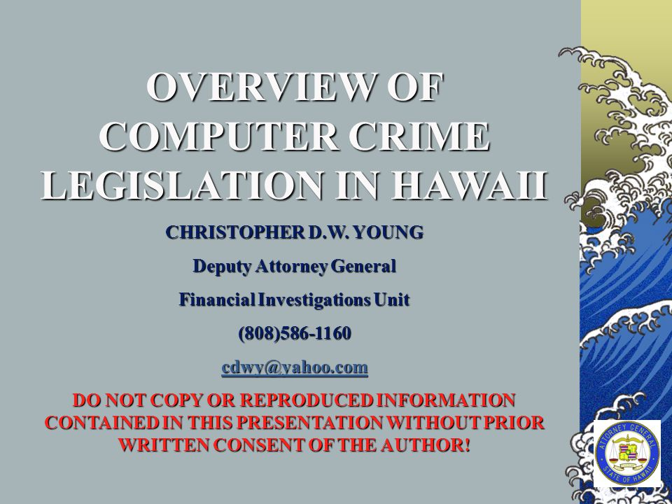OVERVIEW OF COMPUTER CRIME LEGISLATION IN HAWAII