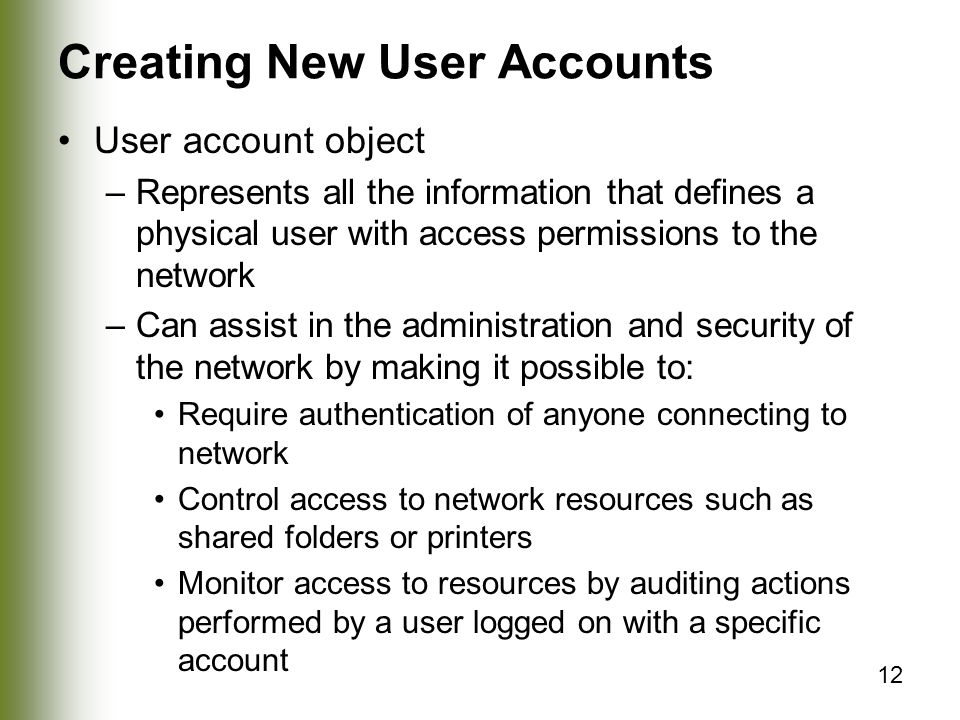 Creating New User Accounts