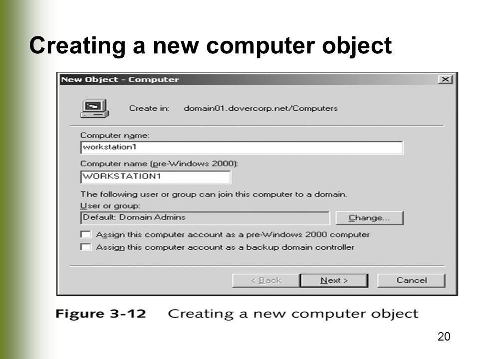 Creating a new computer object