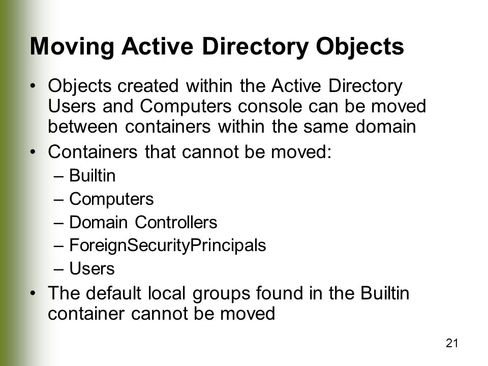 Moving Active Directory Objects