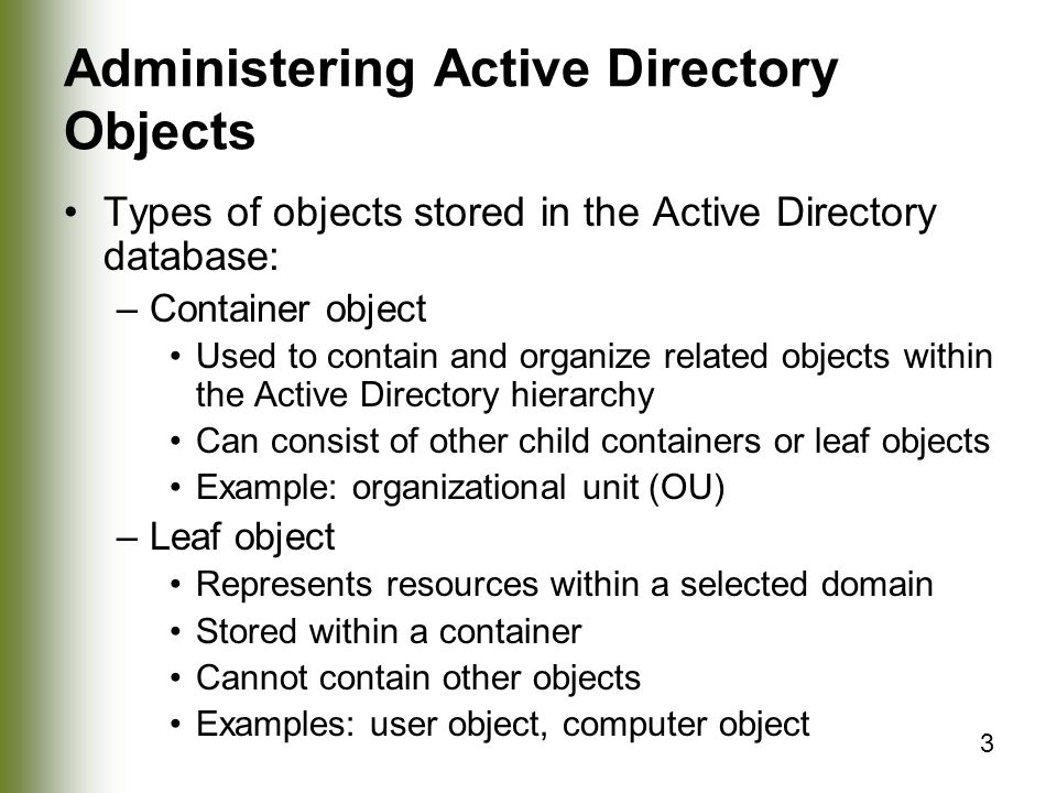 Administering Active Directory Objects