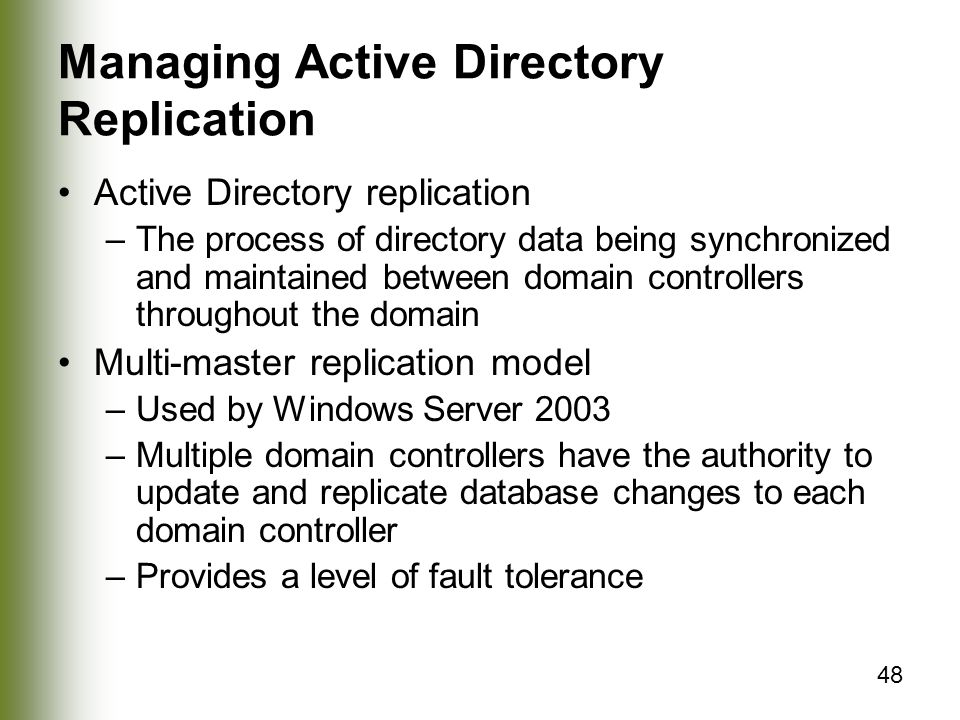 Managing Active Directory Replication