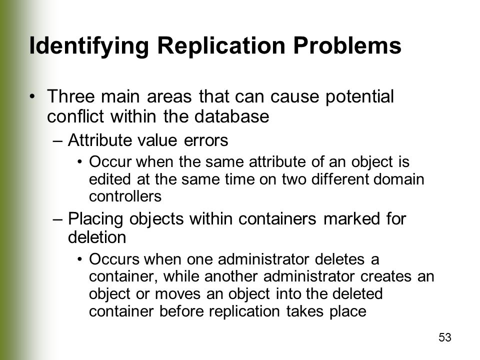 Identifying Replication Problems
