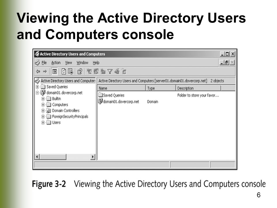 Viewing the Active Directory Users and Computers console