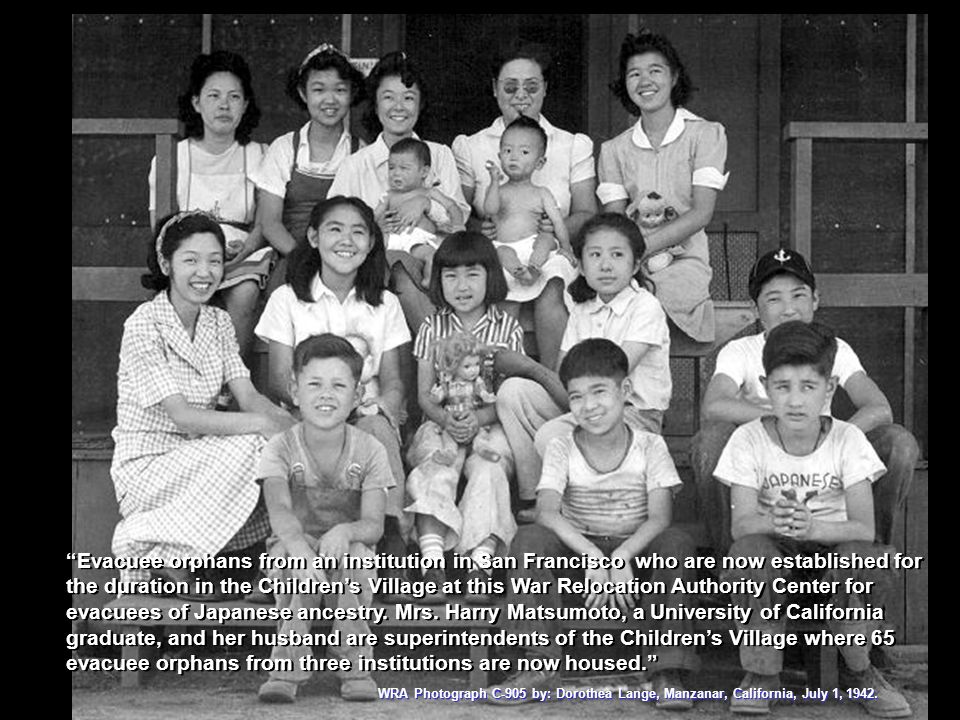 Evacuee orphans from an institution in San Francisco who are now established for the duration in the Children's Village at this War Relocation Authority Center for evacuees of Japanese ancestry. Mrs. Harry Matsumoto, a University of California graduate, and her husband are superintendents of the Children's Village where 65 evacuee orphans from three institutions are now housed.