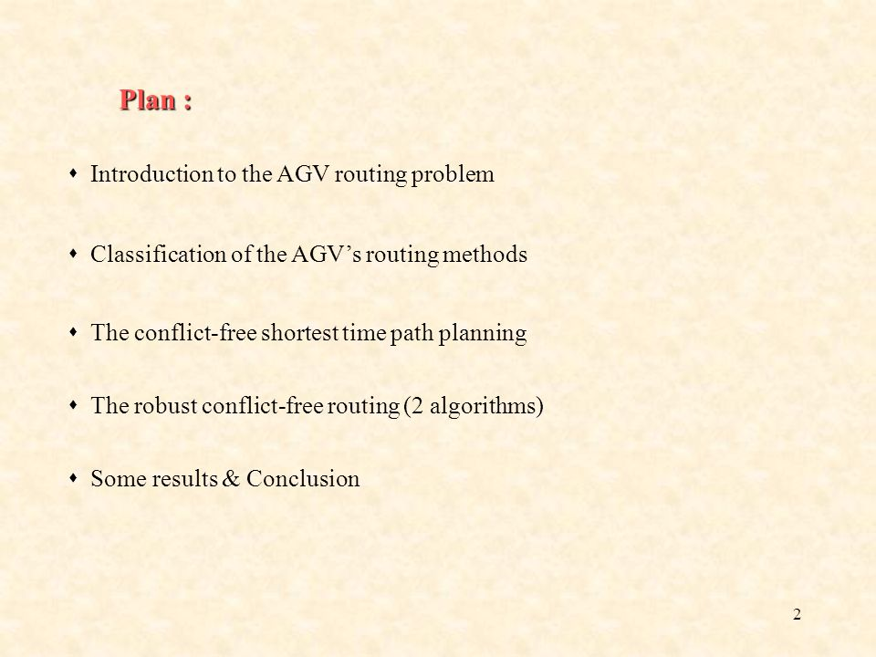Plan :  Introduction to the AGV routing problem