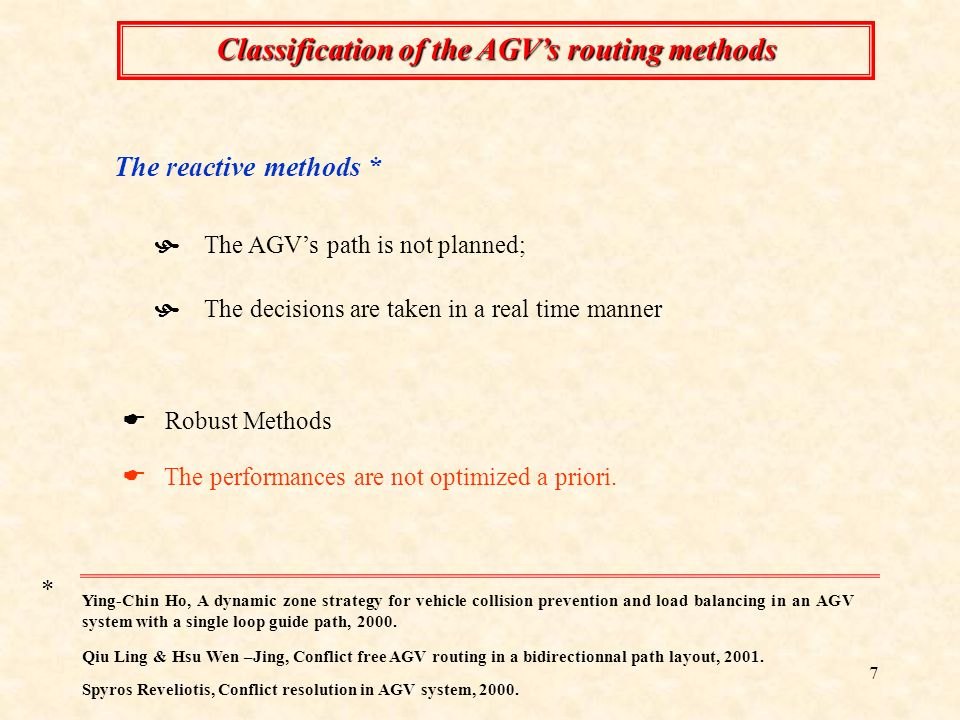 Classification of the AGV's routing methods