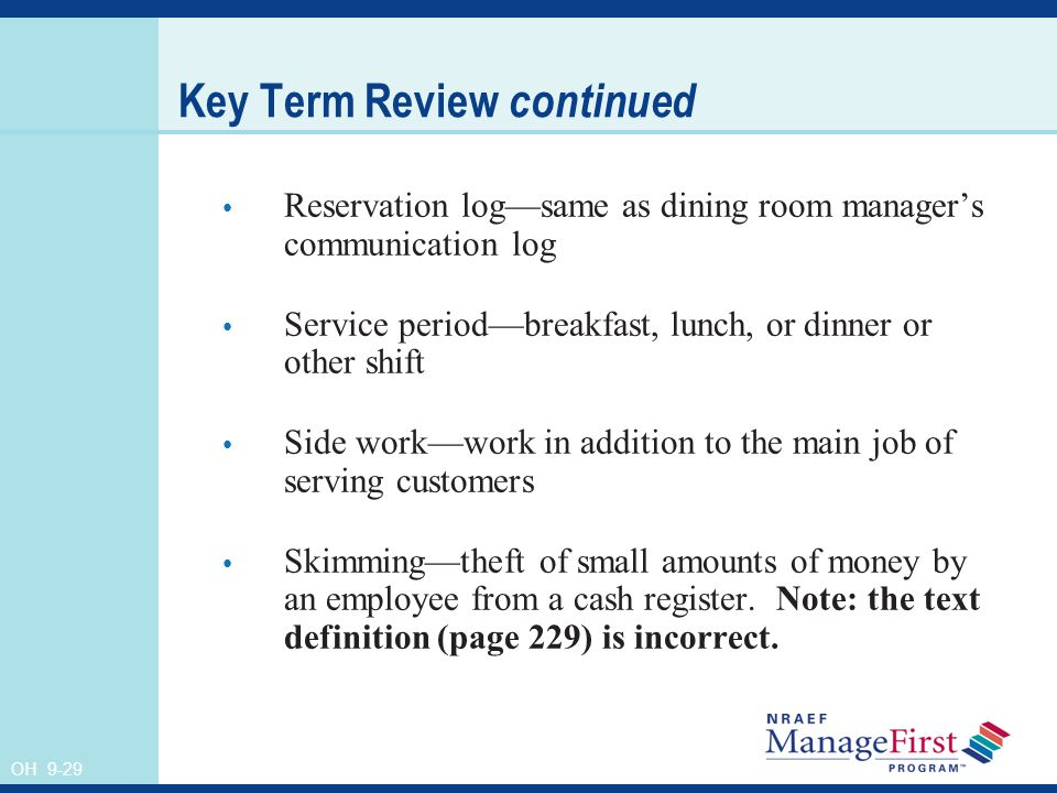 29 Key Term Review Continued Reservation Log Same As Dining Room Managers