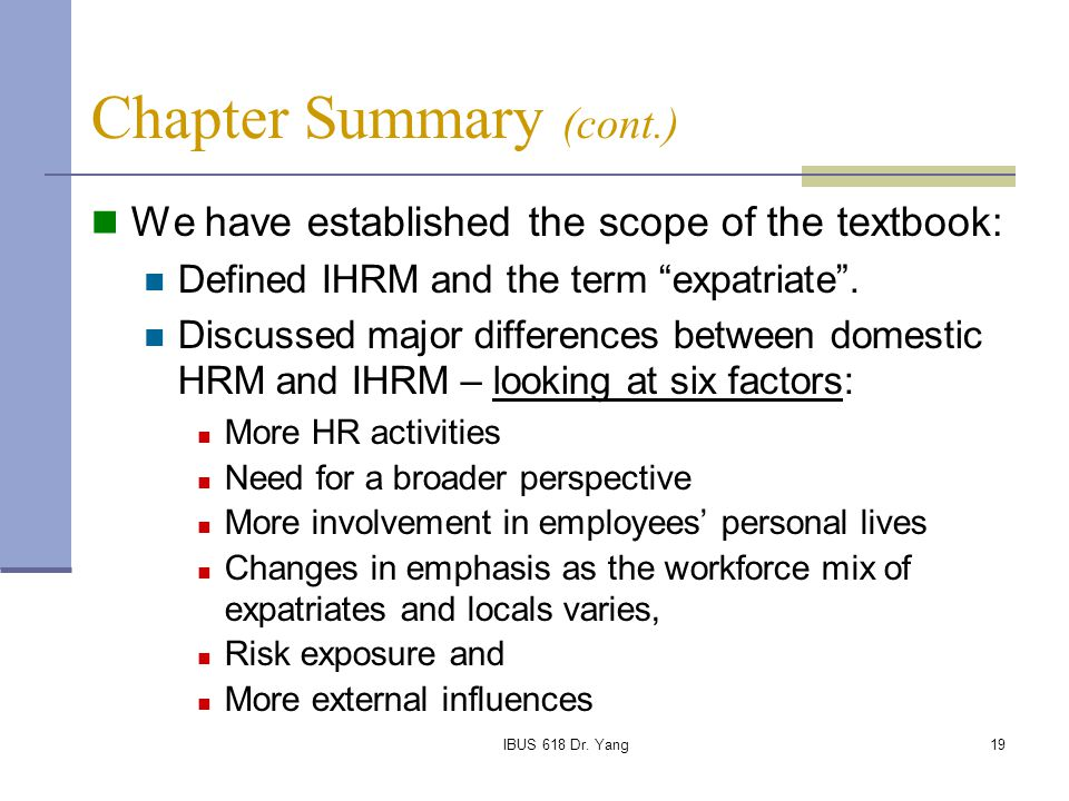 Examples of ihrm and domestic hrm