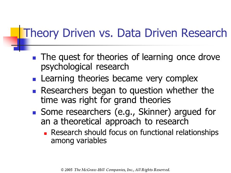 Theory Driven vs. Data Driven Research