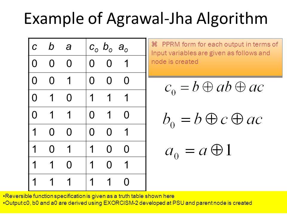 Example of Agrawal-Jha Algorithm