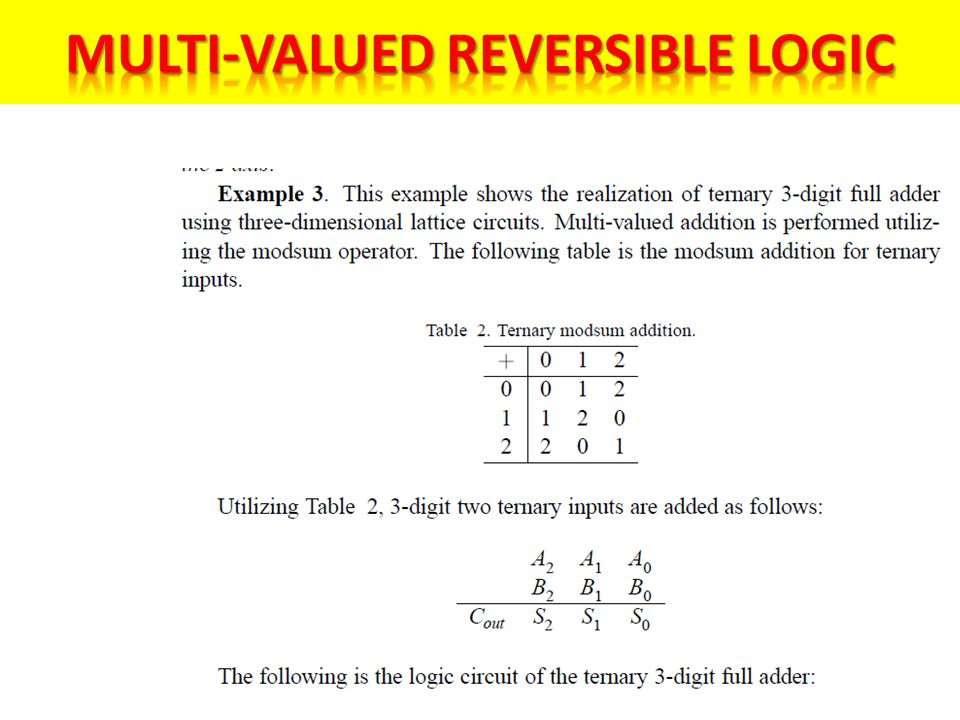 Multi-Valued Reversible Logic