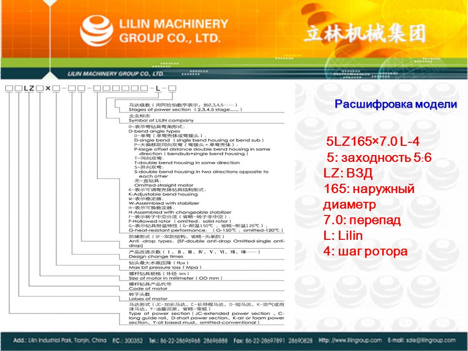 5: заходность 5﹕6 LZ: ВЗД 165: наружный диаметр 7.0: перепад L: Lilin