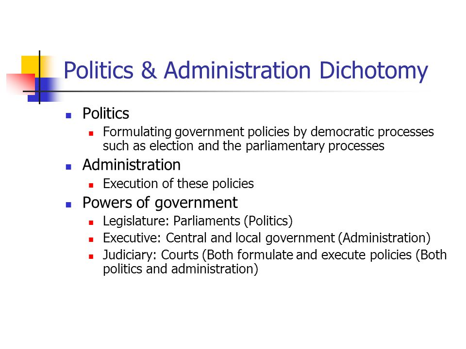 administration and politics dichotomy The actual significance of the politics-administration dichotomy, nevertheless, has to do with its relating to the idea creates repercussions that is, the opinion understood by the dichotomy is that designated administrators and their straight appointees have the lawful right to create policy choices for the society, and it is the.