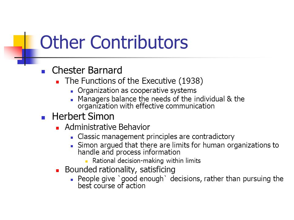 chester barnards management theory essay Chester barnard was born in 1886 and died in 1961 he attended mount hermon prep school and subsequently enrolled at harvard university while at his place as a telecommunications executive.