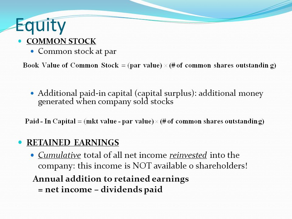 Equity RETAINED EARNINGS