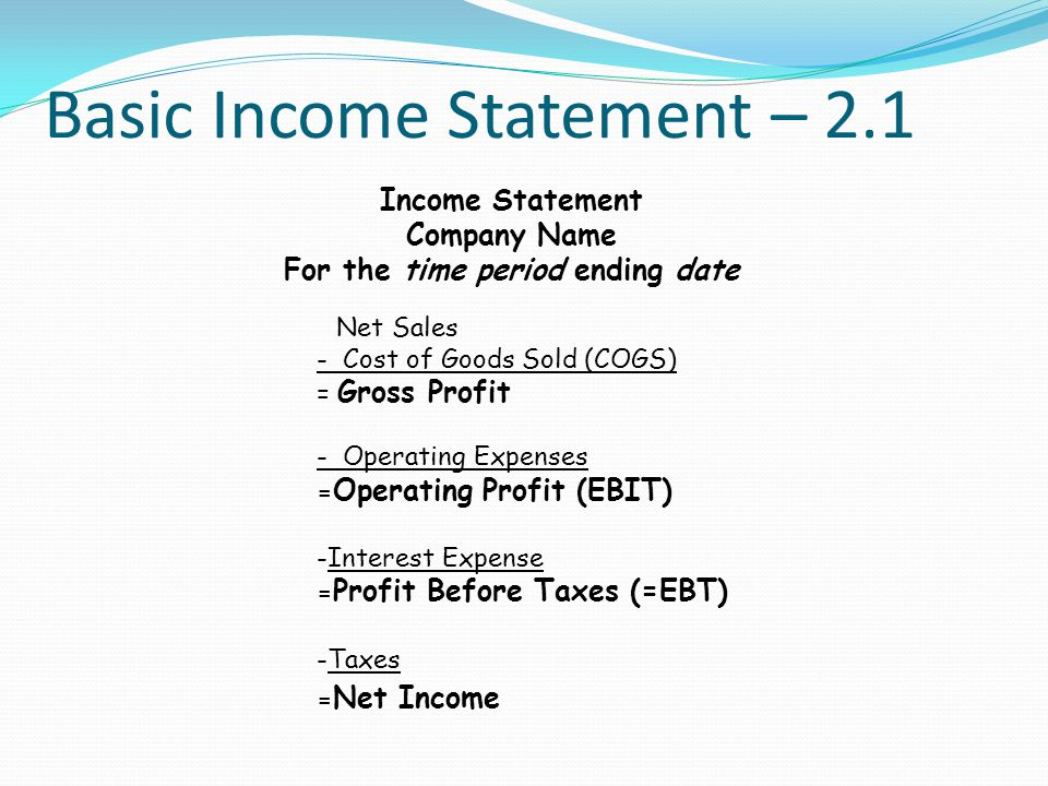 Basic Income Statement – 2.1