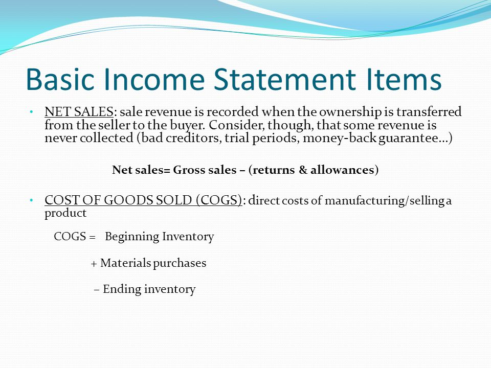 Basic Income Statement Items