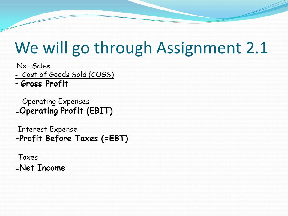 We will go through Assignment 2.1