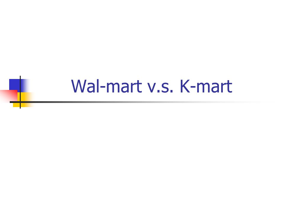 wal-mart vs k-mart essay This essay discusses what is known about wal-mart's competitive advantage   wal-mart, kmart, target, and costco combined still account for a very  sector  level (say, grocery stores vs home improvement stores) and geographically for.