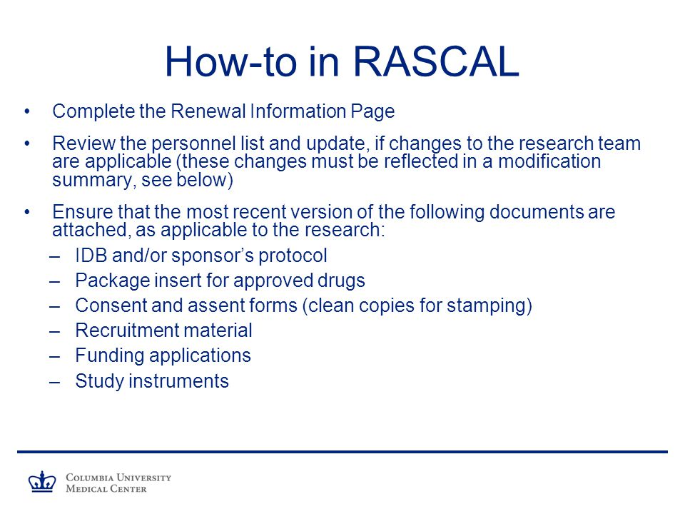 How-to in RASCAL Complete the Renewal Information Page