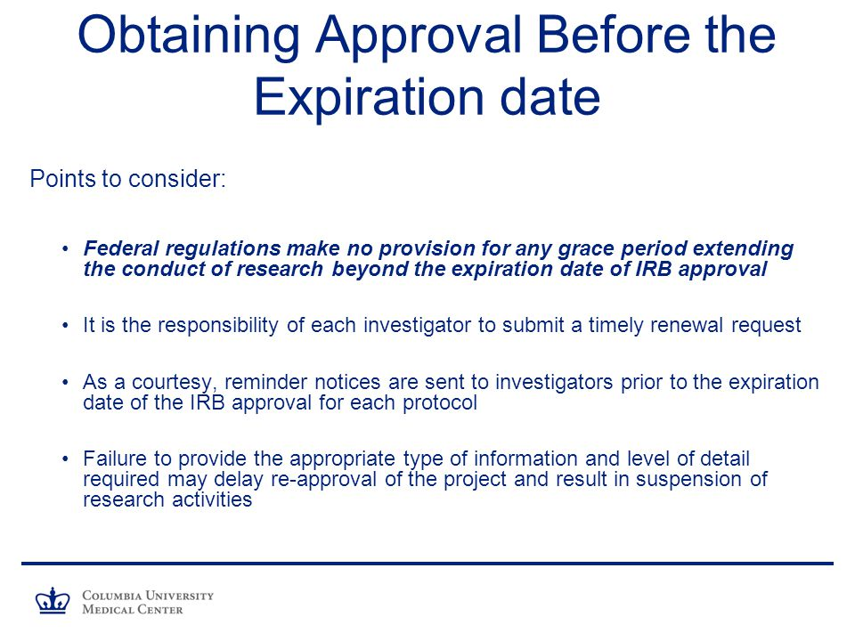 Obtaining Approval Before the Expiration date