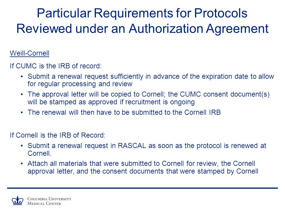 Particular Requirements for Protocols Reviewed under an Authorization Agreement