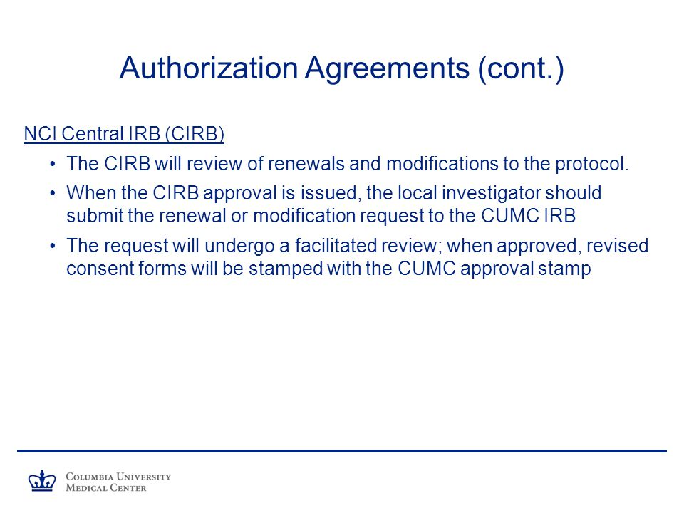 Renewing an approved protocol irb review process ppt download 19 authorization agreements platinumwayz