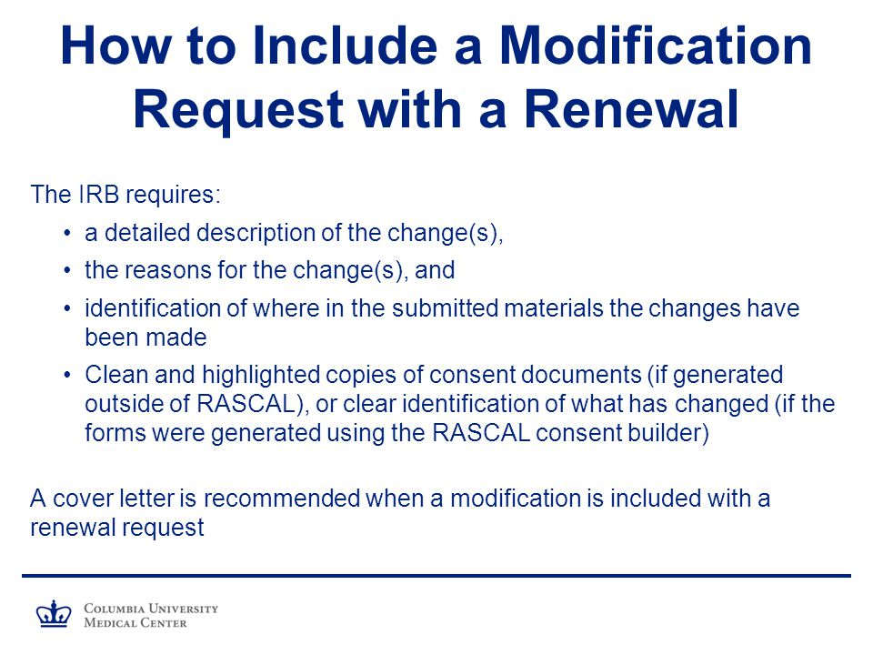 How to Include a Modification Request with a Renewal