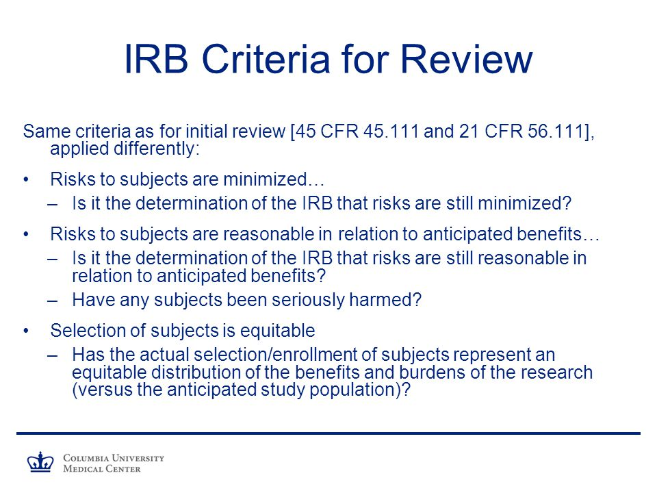 IRB Criteria for Review