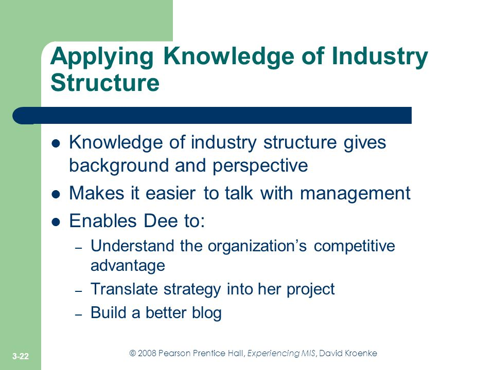Applying Knowledge of Industry Structure