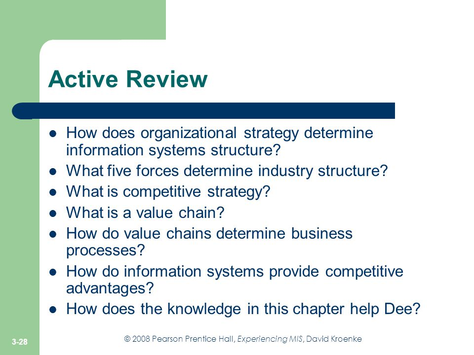 Active Review How does organizational strategy determine information systems structure What five forces determine industry structure