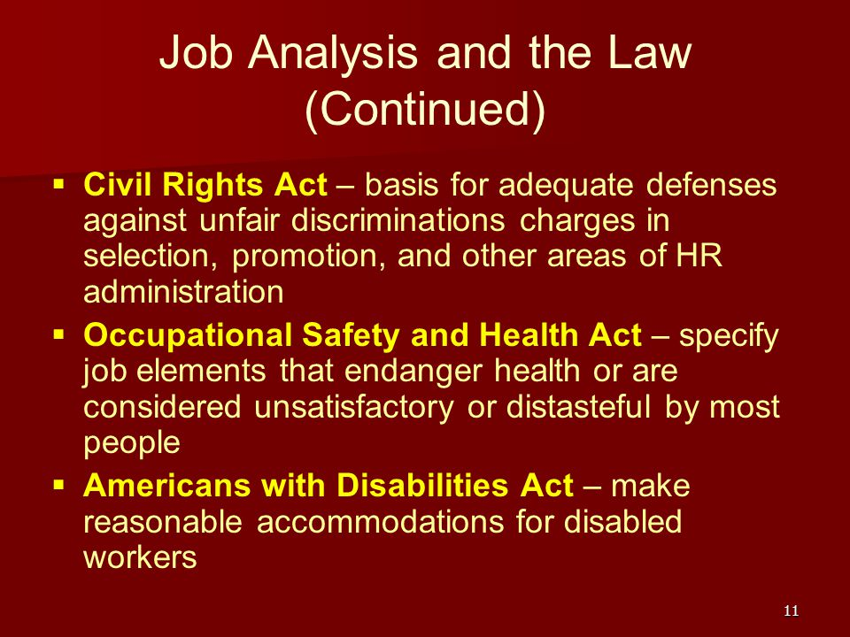 an analysis of the americans with disabilities act The americans with disabilities act more than 50% of those disabled americans are in their working generally shall not require extensive analysis the act makes.