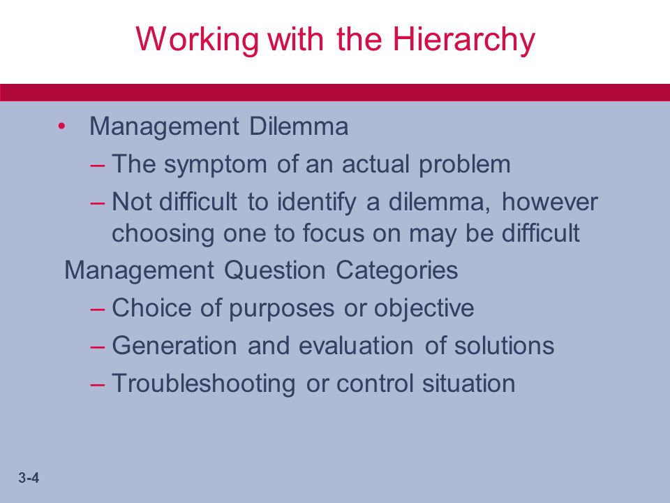 management research question hierarchy for a management dilemma Management and motivation  questions what are rewards rewards can take two forms they can be either intrinsic/internal rewards  maslow's hierarchy of need.