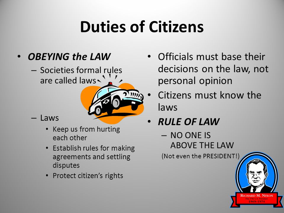 right and duties of citizens Individual rights and community responsibilities today, citizenship requires that people be knowledgeable about public issues and possess the capacity to work toward solution by acting together history records voluntary actions by private citizens working together to right injustices, change directions and pursue benefits for the common good.