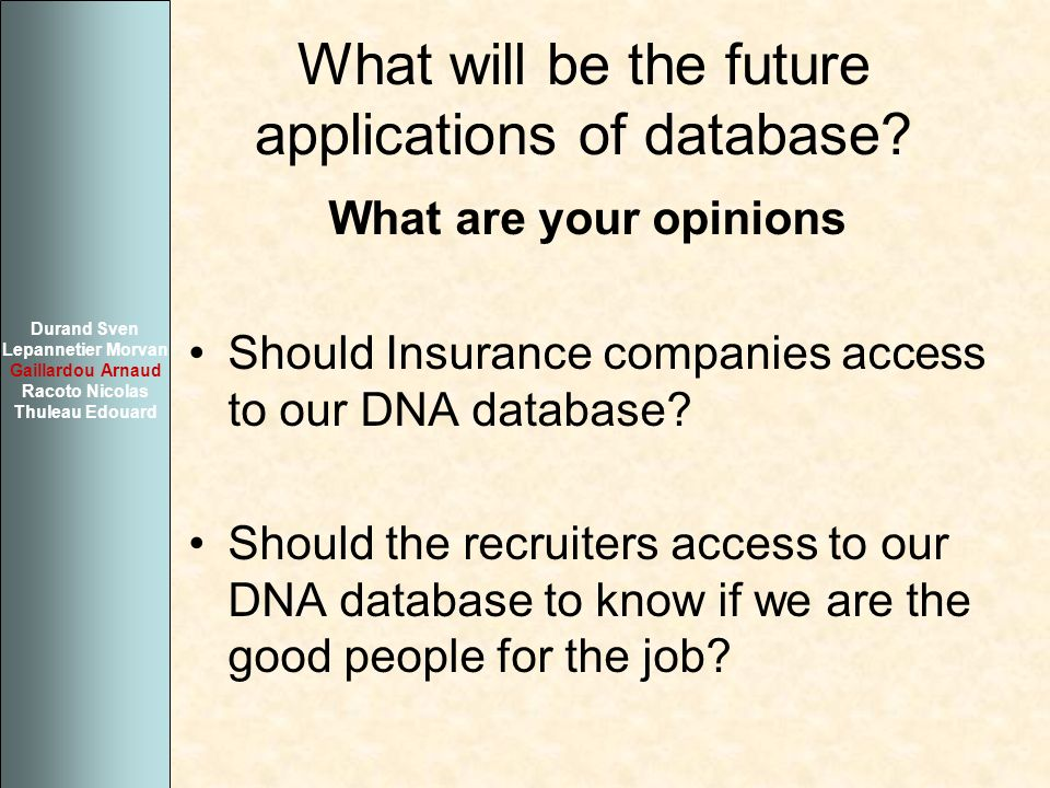 What will be the future applications of database