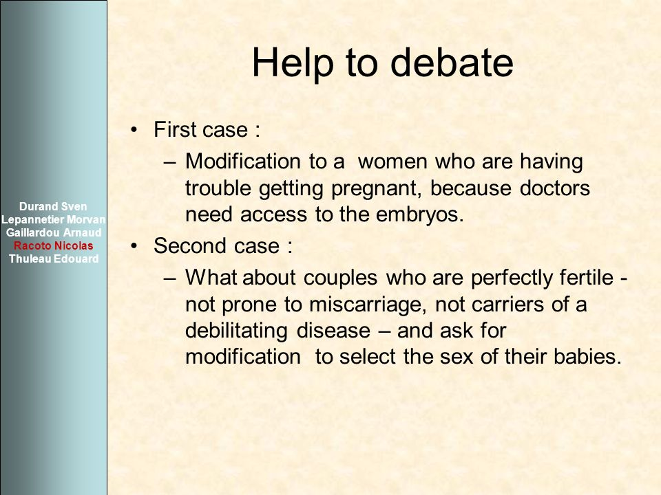 Help to debate First case :