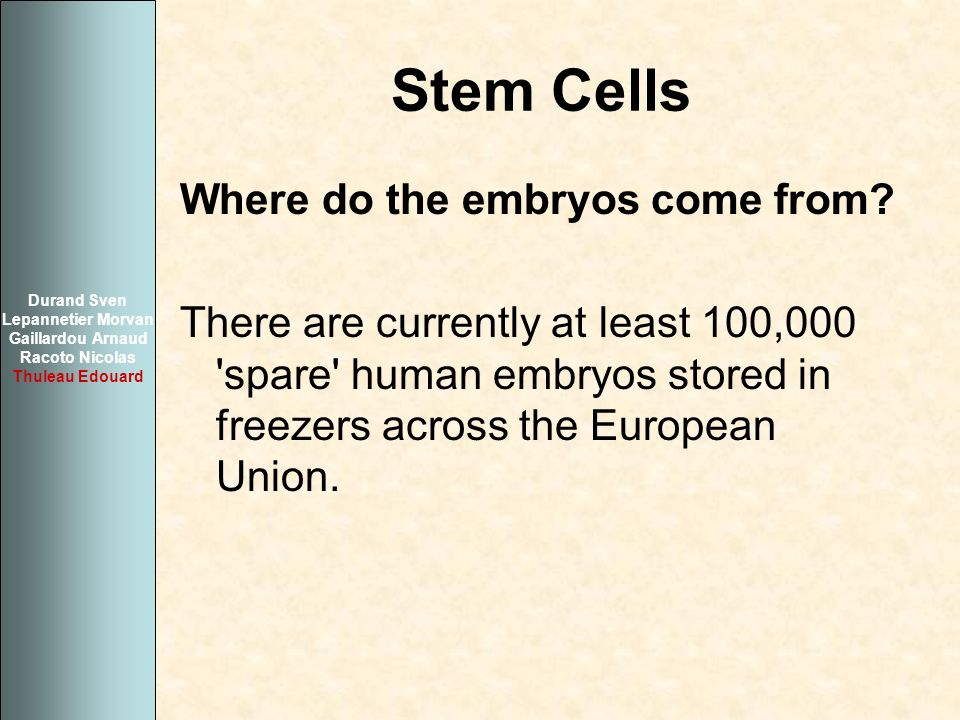 Stem Cells Where do the embryos come from