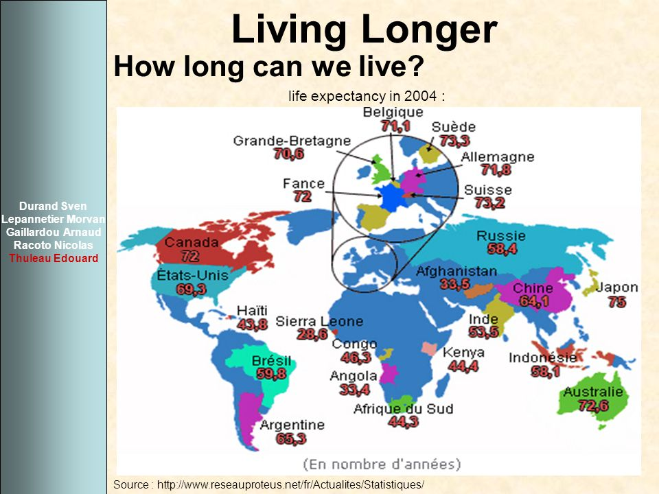 Living Longer How long can we live life expectancy in 2004 :