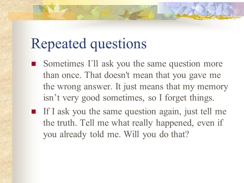 Repeated questions