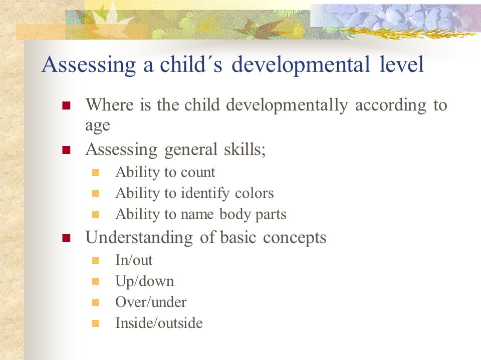 Assessing a child´s developmental level