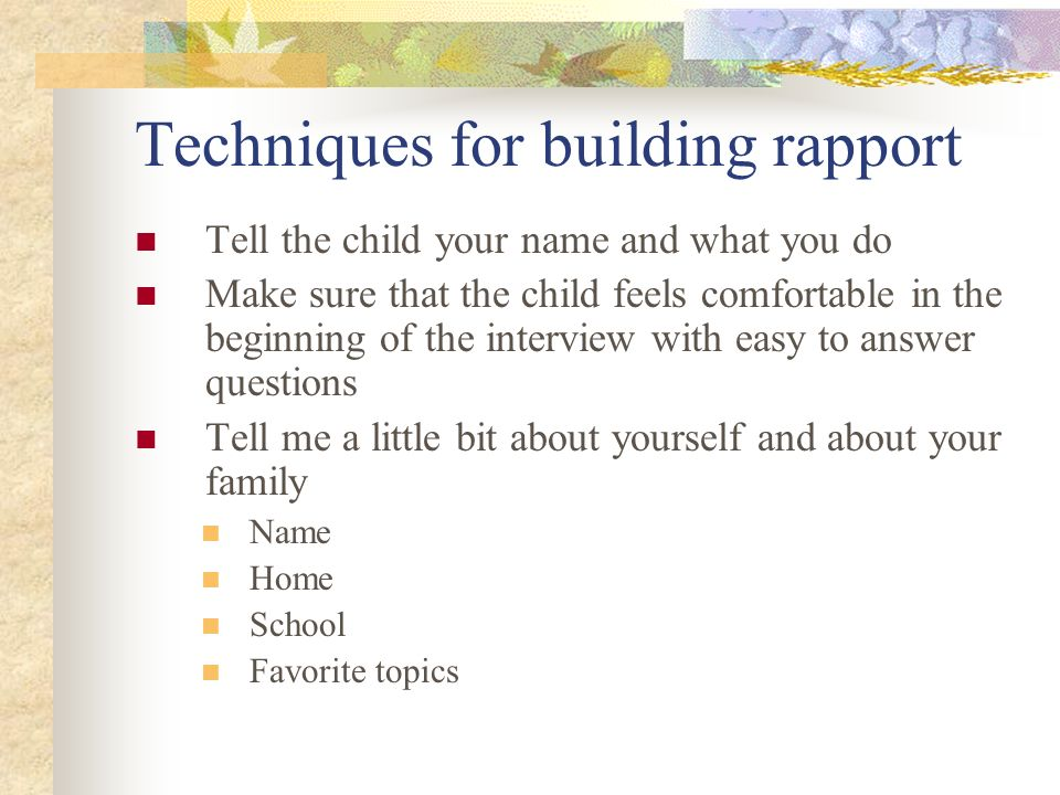Techniques for building rapport