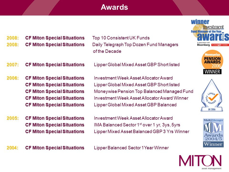 Awards 2008: CF Miton Special Situations Top 10 Consistent UK Funds