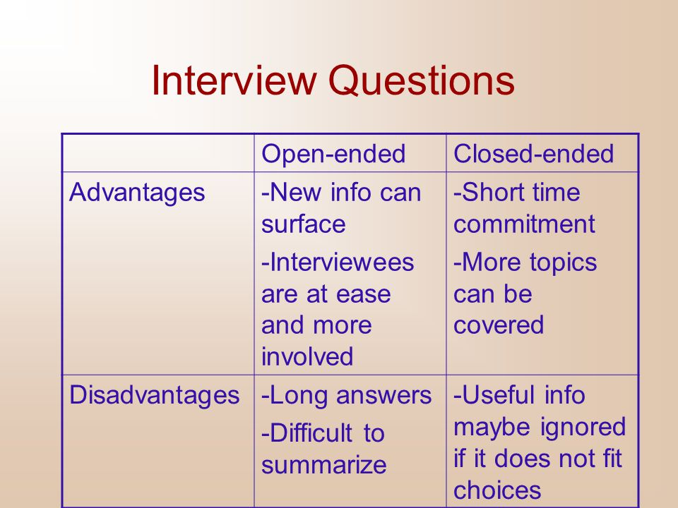 Interview Questions Open-ended Closed-ended Advantages
