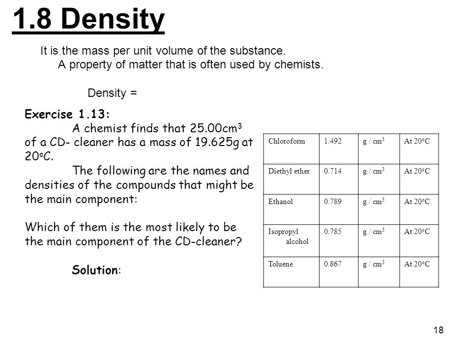 1.8 Density It is the mass per unit volume of the substance.