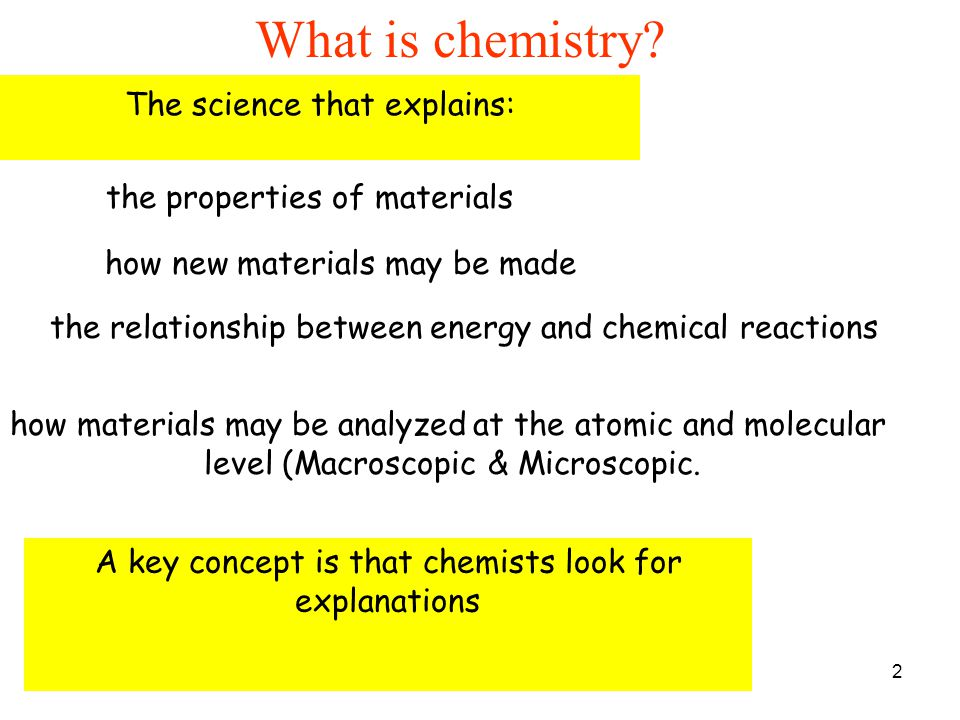 What is chemistry The science that explains: