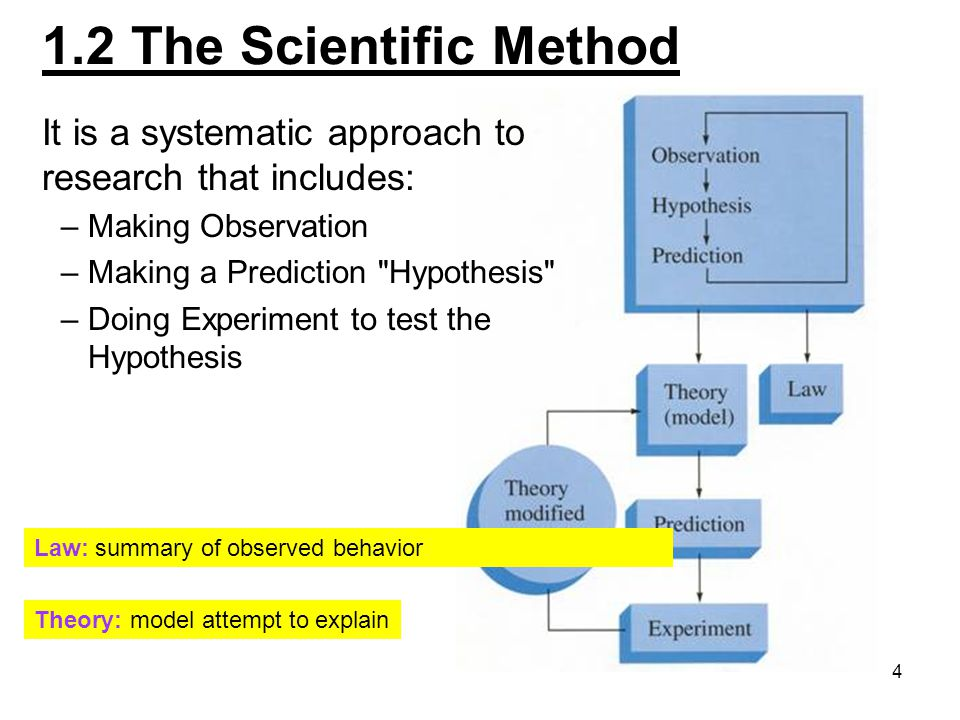 1.2 The Scientific Method It is a systematic approach to research that includes: Making Observation.