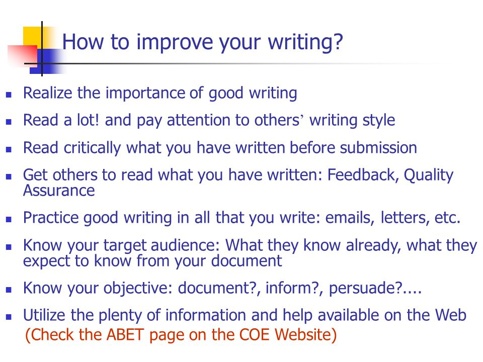 Improve essay writing
